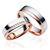 2 x 333 Gold Eheringe Partnerringe Trauringe Hochzeitsringe in Rosegold und Weißgold *mit Gravur und Swarovski* C027