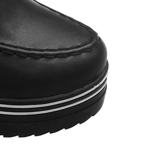 VogueZone009 Damen Rund Zehe Hoher Absatz Niedrig-Spitze Rein Stiefel mit Rivet Set Schwarz