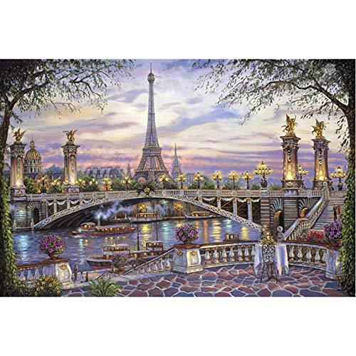 Diamant Malerei 3D Stickerei Kreuzstich Landschaft Eiffelturm Diamant Mosaik Wandaufkleber 40X50Cm