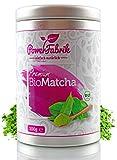 BIO Matcha Pulver | 100g | *SOMMERAKTION* | Original Grüntee aus JAPAN - zertifiziert in Deutschland | PREMIUM Qualität aus kontrolliertem BIO Anbau | GRATIS REZEPTBUCH zum Trinken, Kochen, Backen | Shakes - Smoothies - Matcha Latte | Bio Matcha Tee in Aroma Metalldose | Macha | PowerFabrik