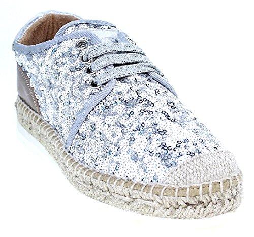 Kanna Shoes | espadrillas scarpe stringate | argento, Argento (argento), 40