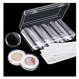 Osuter 100PCS Capsules Pièces de Monnaie Plastique Collection Monnaie avec Boîte de Rangement pour Collection de Pièces...