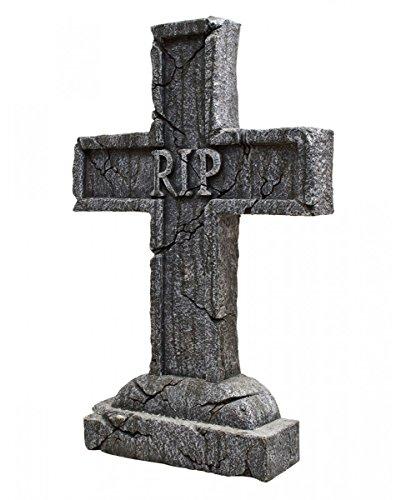 Horror-Shop R.I.P. Halloween Grabstein-Kreuz als Dekoration für den Grusel-Friedhof