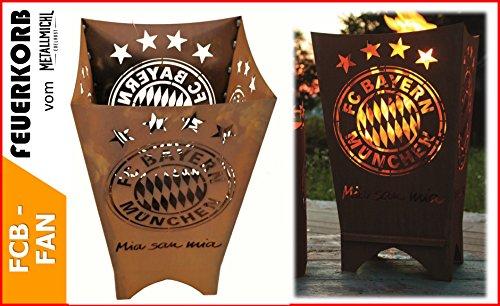 Metallmichl Fußball FC Bayern München Feuerkorb/Feuertonne Fan-Artikel Eckig Mia San mia, FCB Feuerschale für Terasse Garten Eine Tolle Geschenkidee Fußballfan Männergeschenk
