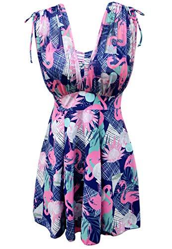 Ecupper Damen Einteiler Badeanzug mit Shorts Badekleid High Waist Blumen Muster Größe Größen Rosa 5XL (Swimdress Bügel)