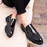 HILOTU Herren Oxford Kleid Schuhe Casual Runde Spitze Mit Lackleder Dicke Unterseite Schnitzen Brogue Schuhe Slip-on Mokassins Formale Party Schuhe (Color : Schwarz, Größe : 41 EU)