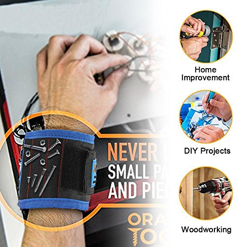 Magnetisches Armband mit 5 starken Magneten, die leicht Schrauben, Nägel, Bohrer und andere kleine Metallwerkzeuge halten. Geschenk für Männer, Elektriker, Heimwerker