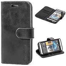 Funda HTC One M7, MULBESS Funda Piel PU, Soporte Plegable, Ranuras para Tarjetas y Billetes, Estilo Libro, Acceso a Botones, Cierre Magnético - Negro