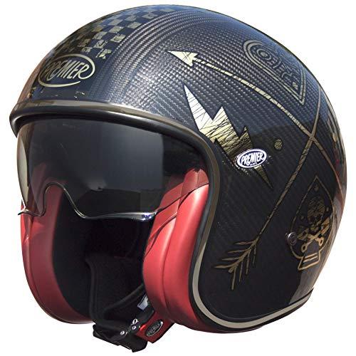 Premier Helm für Motorrad, Jet VINTAGE EVO CARBON NX GOLD CHROMED L