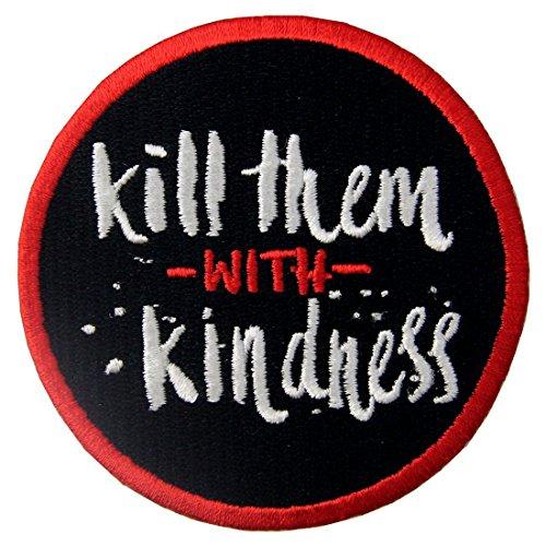 Töten Sie mit Freundlichkeit Funny Patch Bestickt Moral-Applikation Eisen auf Sew auf - Toten Mann Armee Kostüm