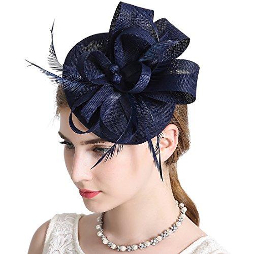 fascinator dunkelblau Damen Elegant Fascinator Hut Braut Hair Clip Accessoires Cocktail Royal Ascot