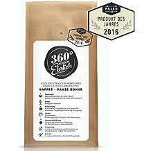 360° rundum ehrlich | Preisgekrönter Premium Kaffee | Köstlich, sehr säurearm und bekömmlich | 100% Honduras Hochland Arabica | Ganze Bohne | Bio-Anbau und fairer Handel | Schonendste Röstung in kleinen Chargen | Öko-Verpackung 250g