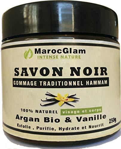 Savon noir Gommage 250g, Huile d'argan Bio et Vanille, Gommage au Savon noir hammam NATUREL MAROC...