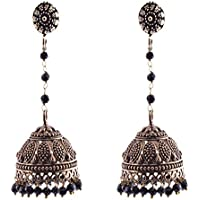 Ganapathy Gems Black Crystal Jhumki Earring For Women