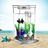 Suna Bequemer Wasserwechselfischbecken Kleines Selbstreinigendes ökologisches Desktop-Aquarium Für Faules Aquarium