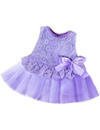 Imixcity Newborn Baby Girls Kids Princess Pageant Party Tulle Lace Bow Flower 0-24M Dress