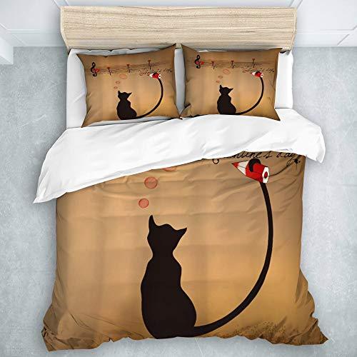 LONYCI Juego de Funda de edredón y sábanas,Animal Gracioso Gato Lindo escribiendo notación Musical con Tail Music Lover,1(200 x 200cm)+2(50x80cm)