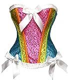 Bslingerie® Brokat Corsage Korsett Blumenordnung Bustiers Multi Color (XL, Regenbogen)