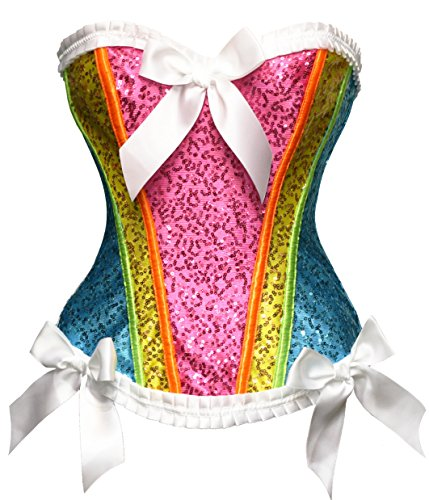 (Bslingerie Brokat Corsage Korsett Blumenordnung Bustiers Multi Color (XL, Regenbogen))