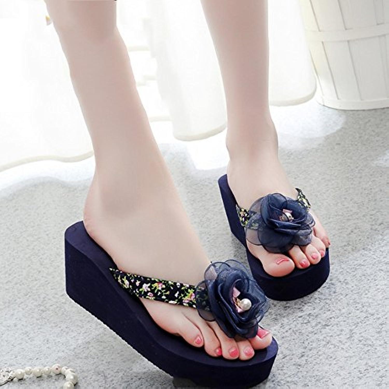 Cómodo Pantuflas inferiores gruesas del desgaste del verano femenino Pista de la playa con las zapatillas Zapatillas...
