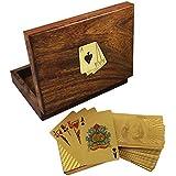 Artesanal caja de soporte de la tarjeta de juego de madera - 2 cubiertas de oro del dólar sembraron jugando cartas - 3,81 x 16 x 11,94 cm
