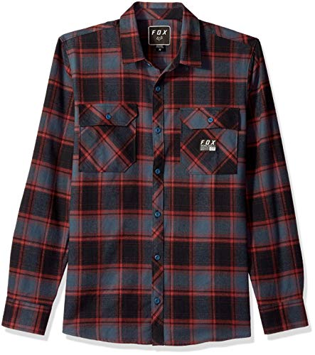 Fox Herren TRAILDUST Flannel Button Down Hemd, Marineblau/rot, X-Groß - Ärmel Baby-twill-hemd