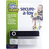 Baby Buddy Secure-A-Toy, Safety Strap Secures Toys, Teether, Or Pacifiers To Strollers, Highchairs, Car Seats-Adjustable Length To Keep Toys Sanitary Clean Black-White 2 Count