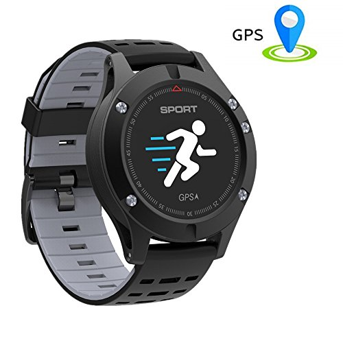 Fitness Armband mit Pulsmesser,TechCode OLED-Farbbildschirm Fitness Tracker Bluetooth Smart Uhr F5 GPS Smart Band Pulsmesser Höhenmesser Thermometer Schrittzähler Armband mit OLED-Farbbildschirm Aktivitätstracker, Herzfrequenzmonitor, Farbbildschirm Schrittzähler für Android(Grau)