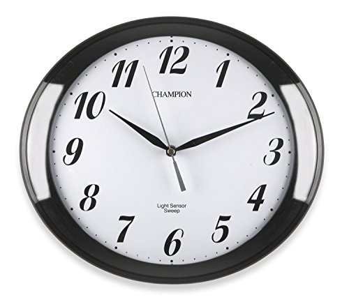 Clifton Oval Light Sensor Wall Clock - Black