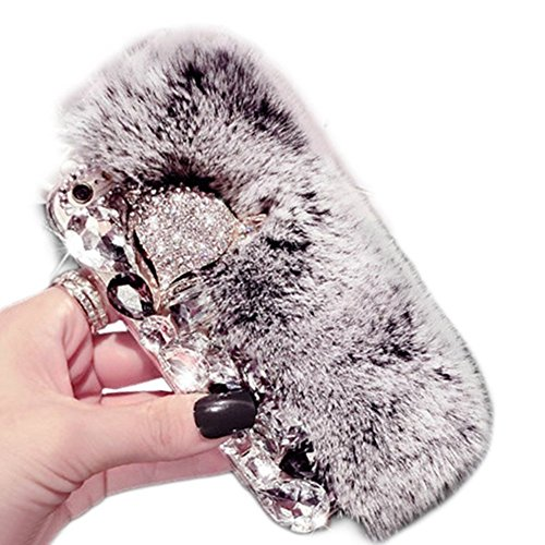 Cover per iPhone 8 Fur,Custodia per iPhone 7, Bonice Pelliccia Di Lusso Cristallo Bling [Serie peluche] ed Elegante Diamante Rex Rabbit Fur [carino] Custodia Inverno Calde Soffici Villi Eco-pelliccia  Lusso Fur - Cover - 12