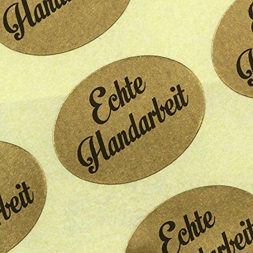 100 Etiketten Aufkleber Original Echte Handarbeit 25 x 18 mm Haftpapier gold auf Rolle, ab 500 mit Spender
