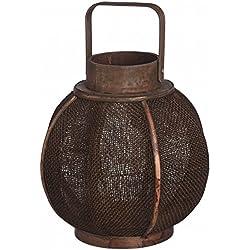 Hill Interiors - Portavelas / farol de madera marrón (Pequeña (S)/Marrón oscuro)