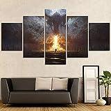 Stampe e Quadri su Tela Wall Art 5 Pezzo Game of Thrones Canvas Art Pittura Drago Soggiorno Home Decor Opere d'Arte HD Stampa No Frame (Size C)