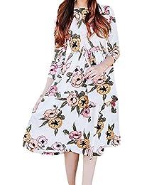 695d1453bbe15 Vestidos Manga Larga Mujeres Blusas Largas Otoñales Vestidos Camisas  Florales Adelgazar Vestidos Grandes Oscilación Cintura Plisada