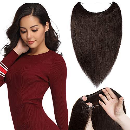 "TESS Extensions Echthaar günstig 1 Tresse Remy Haarverlängerung mit Draht Haarverdichtung Glatt 16\""(40cm)-60g(#2 Dunkelbraun)"