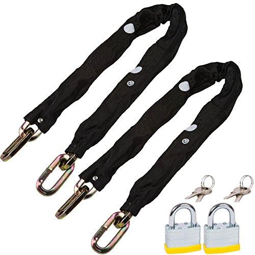 spares2go 10mm 3Ft Heavy Duty Kette aus gehärtetem Stahl mit Nylon Abdeckung & Vorhängeschloss (2Stück) -