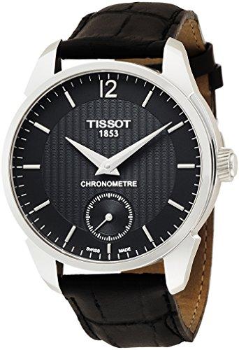 Tissot Hommes Montre à quartz avec affichage analogique cadran noir de main manivelle en cuir t070.406.16.057.00