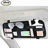 Paquet de 2 organiseurs pare-soleil, Stockage de pare-soleil de voiture, organisation tissée élastique antidérapante de panneau pour le support de lunettes de soleil Accessoires de carte de stationnement de carburant numérique.