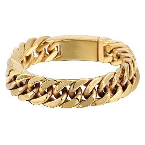 Schwere Herren Jungen Ketten Cut Rombo Doppel Curb Link Gold Ton 316L Edelstahl Armband (Gold-ton-ketten)