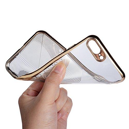 coque iPhone 7/8 Plus silicone Doux TPU Pare-chocs Transparent Clair 3D ultrafin sculpture sur laser Überzug Étui de téléphone de coque de protection Mode Simple Case cover DECHYI Pour iPhone 7Plus/iP 1# Golden