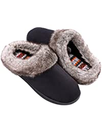 6534bf7727e4 Ladies  Furry Memory Foam Slippers Micro Suede Faux Fur House Shoes with  Yarn Knit Lining