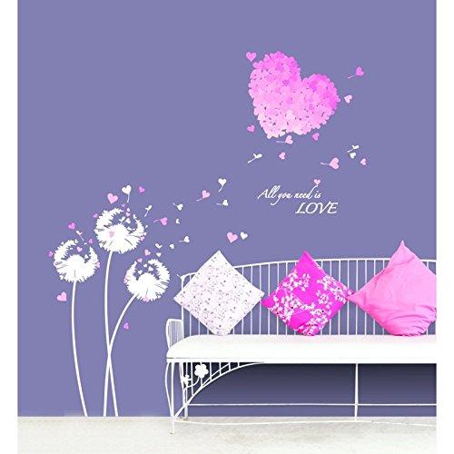 Vinilo adhesivo decorativo para pared, Flores rosadas y corazón