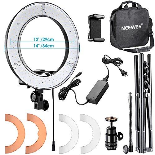 Neewer 14 Zoll/ 36cm Äußere LED Ringlicht Set: 36W 5500K Ringleuchte+Licht Stand+ Soft Tube + 2 Farbfilter + Hot Shoe Adapter + Bluetooth-Empfänger für Porträt, Youtube Video
