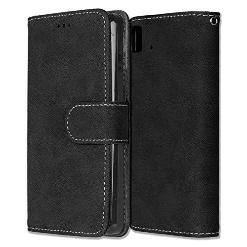 BQ Aquaris E4.5 Hülle, Chreey Matt Leder Tasche Retro Handyhülle Magnet Flip Case mit Kartenfach Geldbörse Schutzhülle Etui [Schwarz]