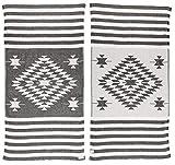 Bersuse 100% Cotone - Asciugamano Turco Carmen - Fouta Telo Mare e Bagno - Doppio Strato con Design Azteco - 95 x 175 cm, Nero