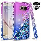 LeYi Hülle Galaxy S6 Glitzer Handyhülle mit Panzerglas Schutzfolie(2 Stück),Cover Diamond Rhinestone Bumper Schutzhülle für Case Samsung Galaxy S6 Handy Hüllen ZX Gradient Purple Blue