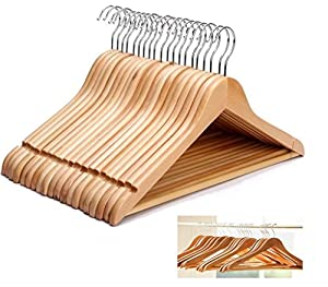 KEPLIN High Quality Strong Natural Wood Wooden Coat Hangers 20 Pack by KEPLIN