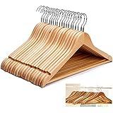 Cintres en bois avec barre pour pantalon cintre pour vêtements Penderie en bois Set, 20