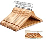 KEPLIN® WOODEN HANGERS COAT SUIT GARMENT CLOTHES WARDROBE WOOD HANGER TROUSER BAR SET (20)