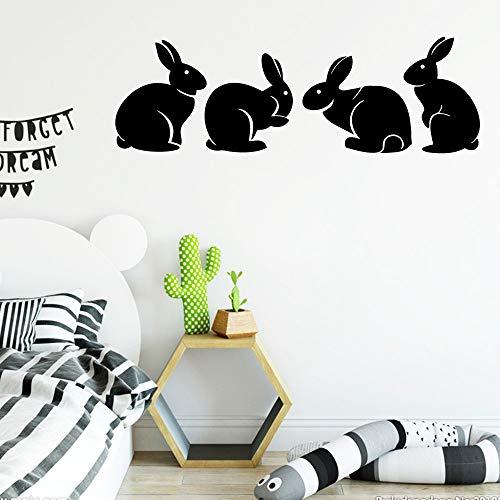 wukongsun Neue Kaninchen Wandkunst Aufkleber Wandaufkleber entfernbare Vinyl Wandtapete schwarz L 43cm X 51cm -